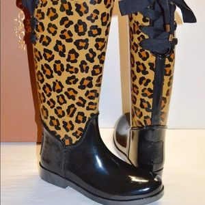 Coach black/leopard rain boots 7.5